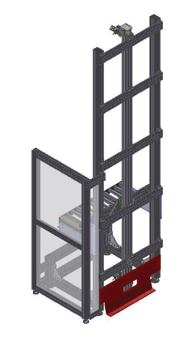Vertical transfer unit to move pallets between floors