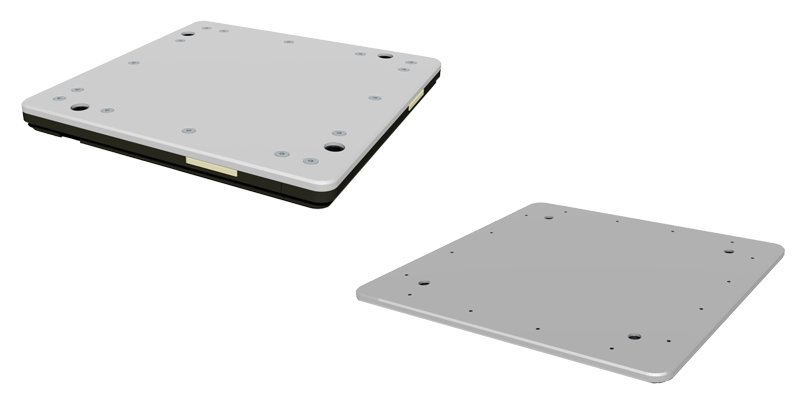 Two types of pallets for conveyors side by side